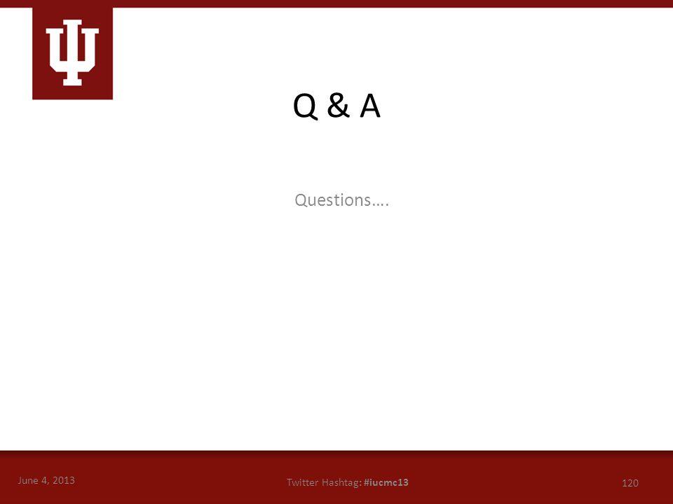 June 4, 2013 120 Twitter Hashtag: #iucmc13 Questions…. Q & A