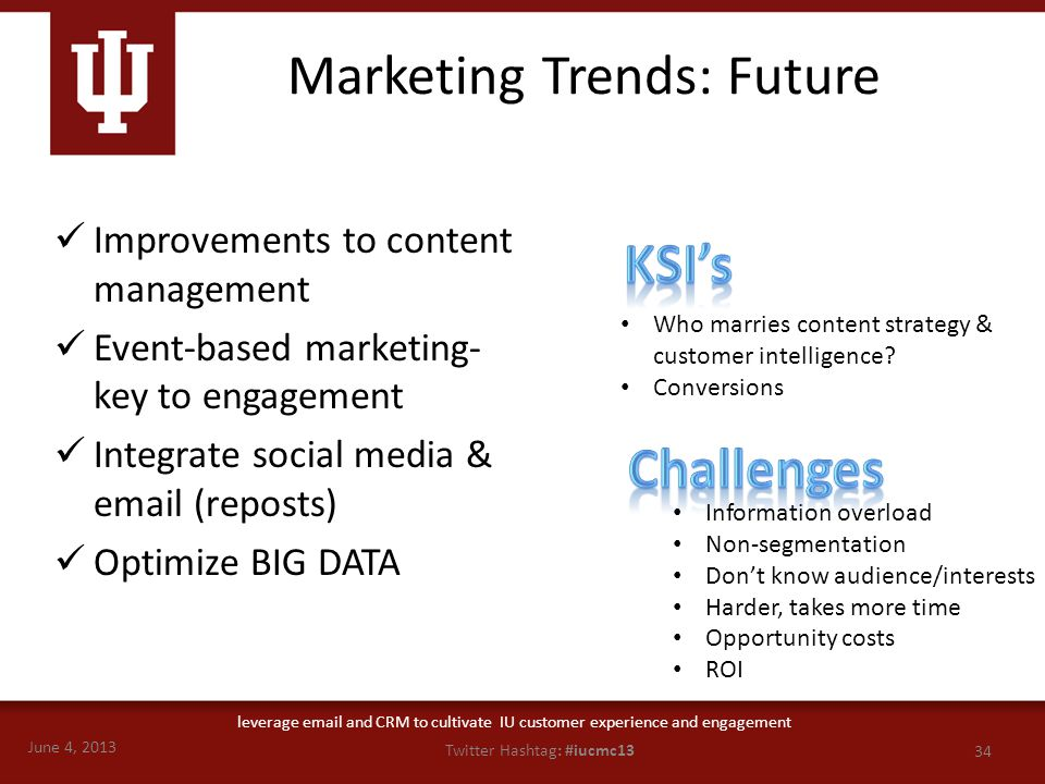 June 4, 2013 34 Twitter Hashtag: #iucmc13 leverage email and CRM to cultivate IU customer experience and engagement Marketing Trends: Future Improveme
