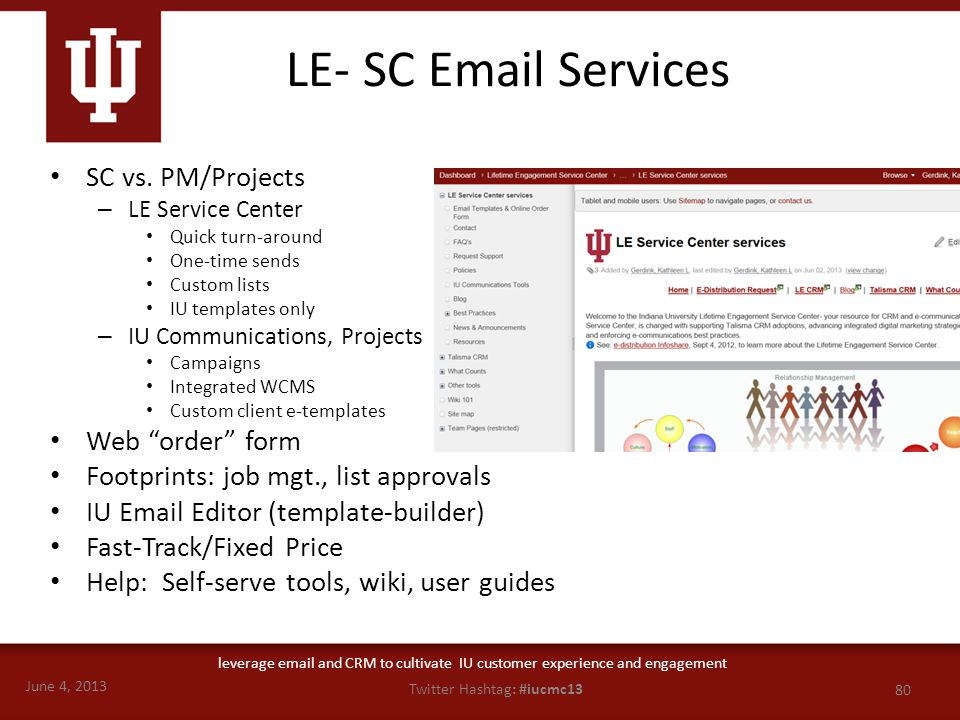 June 4, 2013 80 Twitter Hashtag: #iucmc13 leverage email and CRM to cultivate IU customer experience and engagement LE- SC Email Services SC vs. PM/Pr