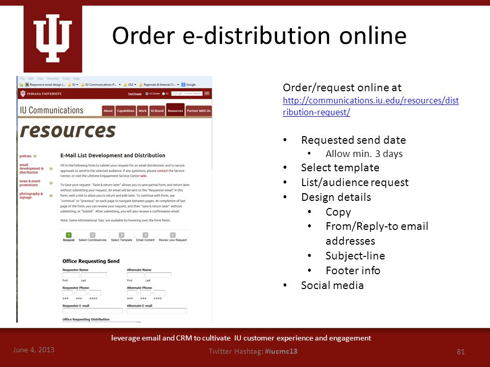 June 4, 2013 81 Twitter Hashtag: #iucmc13 leverage email and CRM to cultivate IU customer experience and engagement Order/request online at http://com