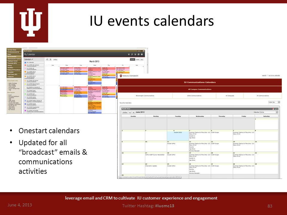 June 4, 2013 83 Twitter Hashtag: #iucmc13 leverage email and CRM to cultivate IU customer experience and engagement Onestart calendars Updated for all