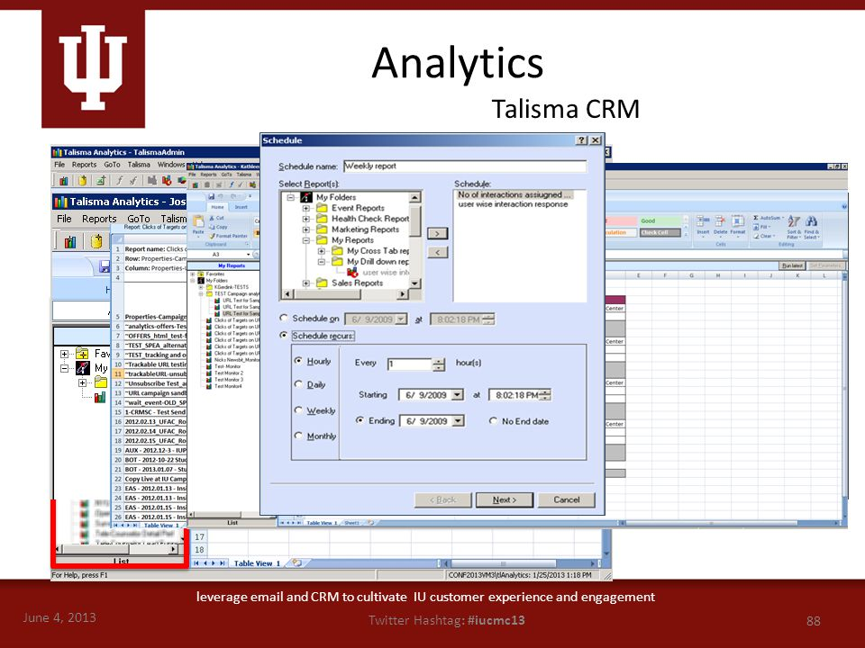 June 4, 2013 88 Twitter Hashtag: #iucmc13 leverage email and CRM to cultivate IU customer experience and engagement Analytics Talisma CRM Result Pane