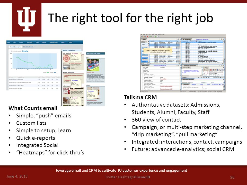 "June 4, 2013 96 Twitter Hashtag: #iucmc13 leverage email and CRM to cultivate IU customer experience and engagement What Counts email Simple, ""push"" e"