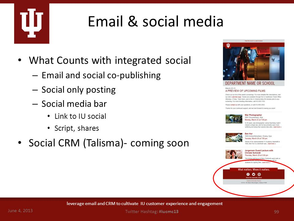 June 4, 2013 99 Twitter Hashtag: #iucmc13 leverage email and CRM to cultivate IU customer experience and engagement Email & social media What Counts w