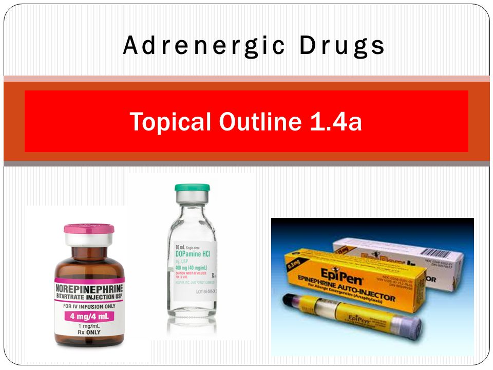 Adrenergic Drugs Topical Outline 1.4a