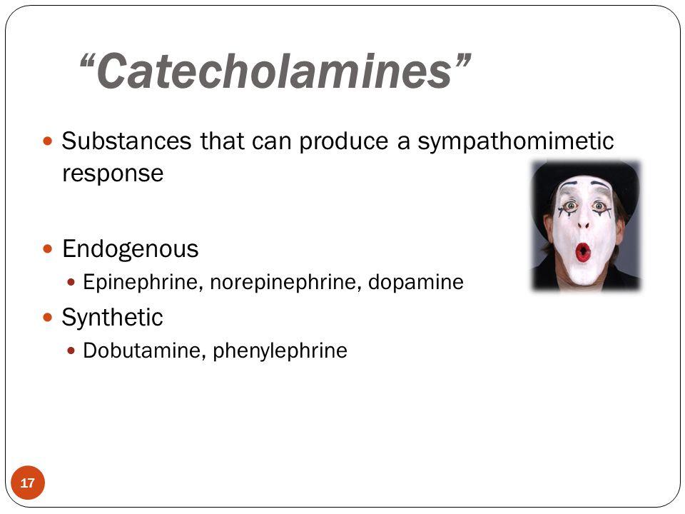 """Substances that can produce a sympathomimetic response Endogenous Epinephrine, norepinephrine, dopamine Synthetic Dobutamine, phenylephrine """"Catechola"""
