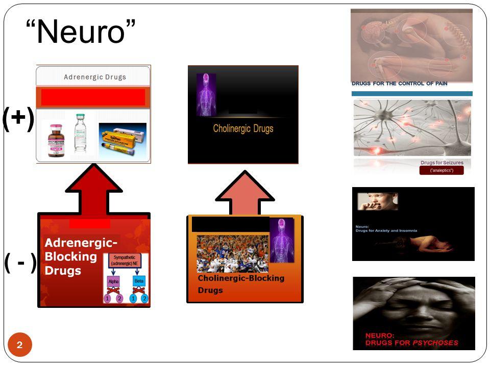 "2 Adrenergic Drugs 18 Cholinergic Drugs 20 Adrenergic Blocking Drugs 19 Cholinergic Blocking Drugs 21 ""Neuro"" (+) ( - )"