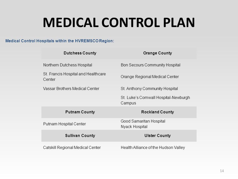 MEDICAL CONTROL PLAN 14 Dutchess CountyOrange County Northern Dutchess HospitalBon Secours Community Hospital St.