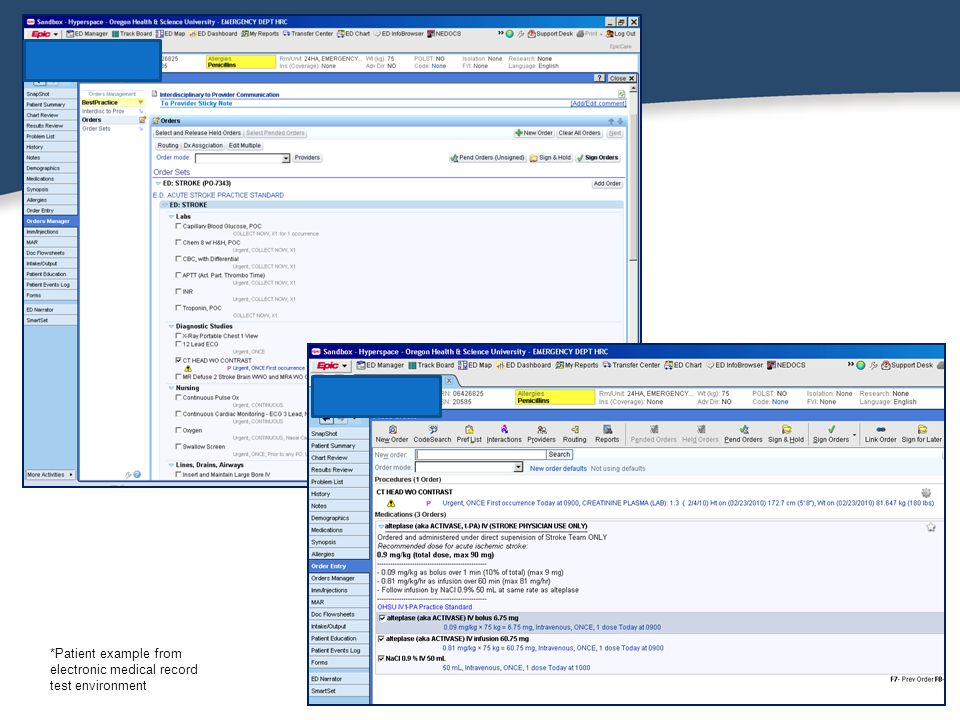 *Patient example from electronic medical record test environment