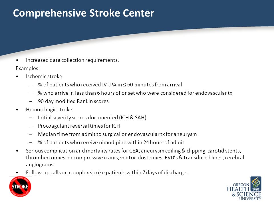 Comprehensive Stroke Center Increased data collection requirements. Examples: Ischemic stroke –% of patients who received IV tPA in ≤ 60 minutes from
