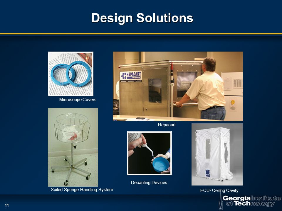 11 Design Solutions Microscope Covers Decanting Devices Soiled Sponge Handling System Hepacart ECU 2 Ceiling Cavity