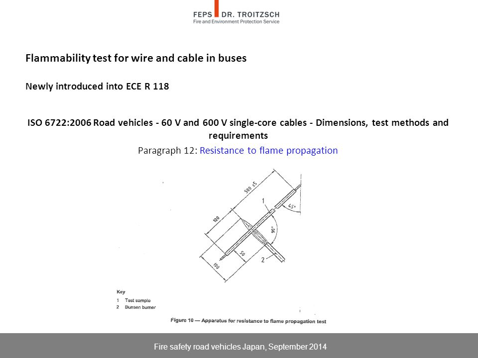 Flammability test for wire and cable in buses Newly introduced into ECE R 118 ISO 6722:2006 Road vehicles - 60 V and 600 V single-core cables - Dimensions, test methods and requirements Paragraph 12: Resistance to flame propagation Fire safety road vehicles Japan, September 2014