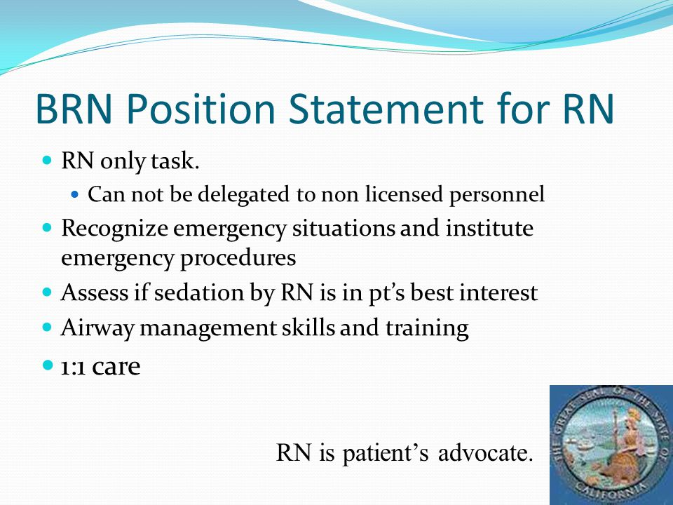 BRN Position Statement for RN RN only task.