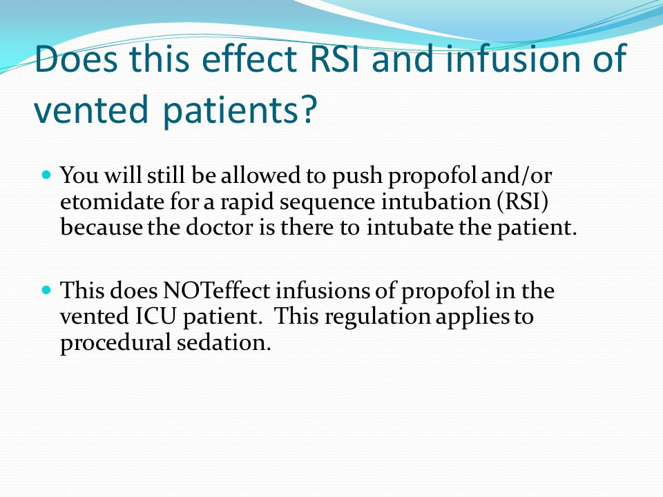 Does this effect RSI and infusion of vented patients.