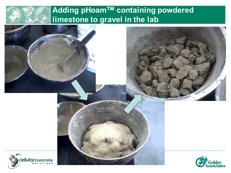 Adding pHoam TM containing powdered limestone to gravel in the lab