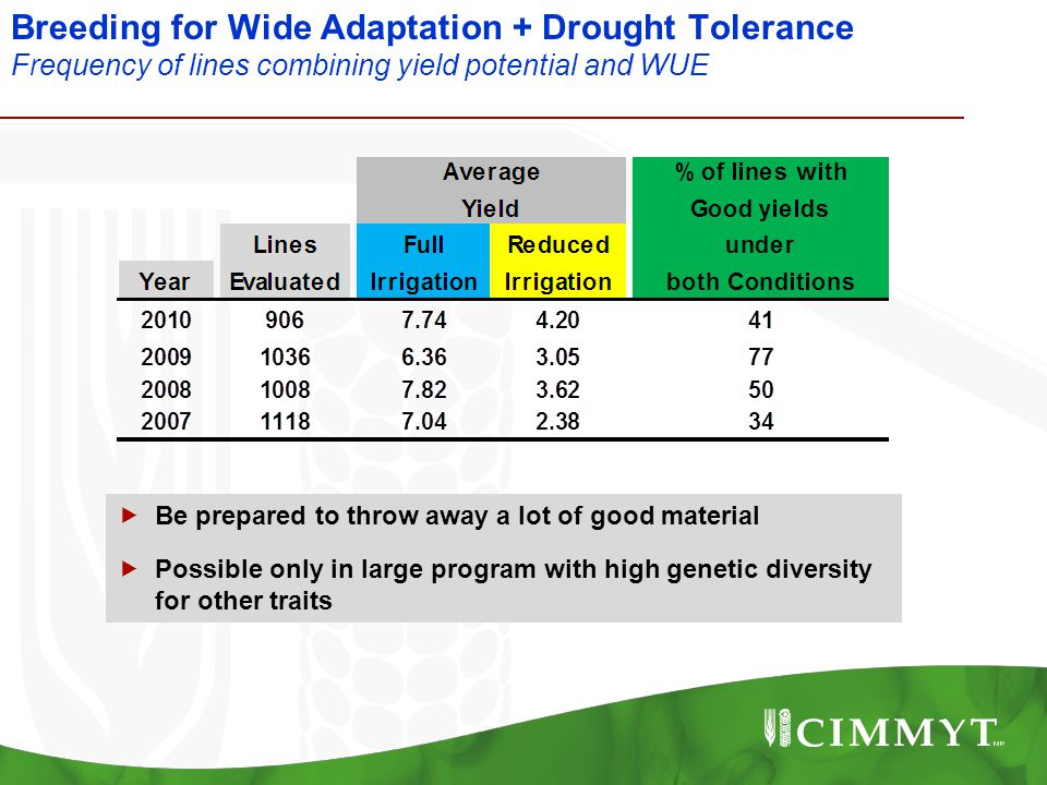 Breeding for Wide Adaptation + Drought Tolerance Frequency of lines combining yield potential and WUE  Be prepared to throw away a lot of good materi