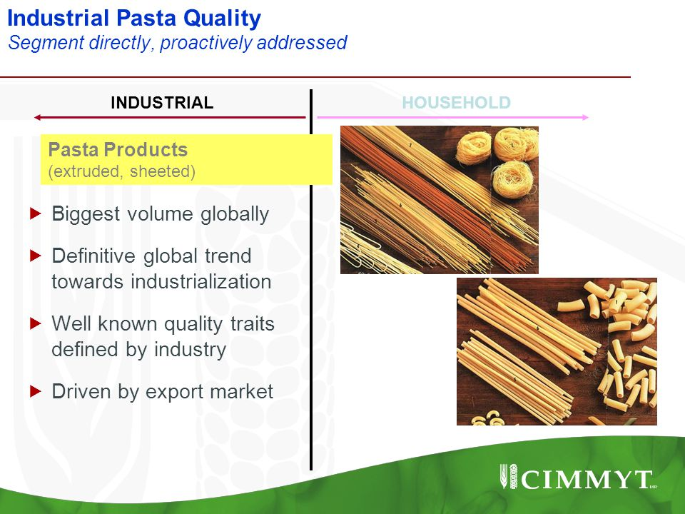 Industrial Pasta Quality Segment directly, proactively addressed Pasta Products (extruded, sheeted) INDUSTRIALHOUSEHOLD  Biggest volume globally  De