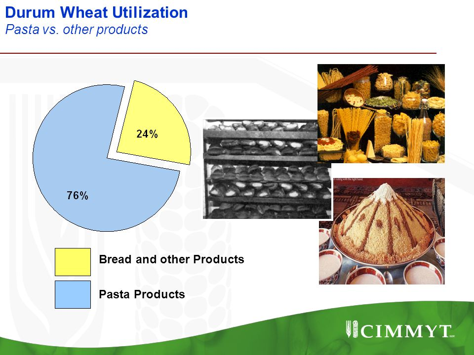 Durum Wheat Utilization Pasta vs. other products Pasta Products Bread and other Products