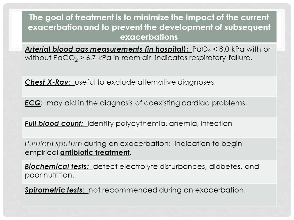 The goal of treatment is to minimize the impact of the current exacerbation and to prevent the development of subsequent exacerbations Arterial blood gas measurements (in hospital) : PaO 2 6.7 kPa in room air indicates respiratory failure.