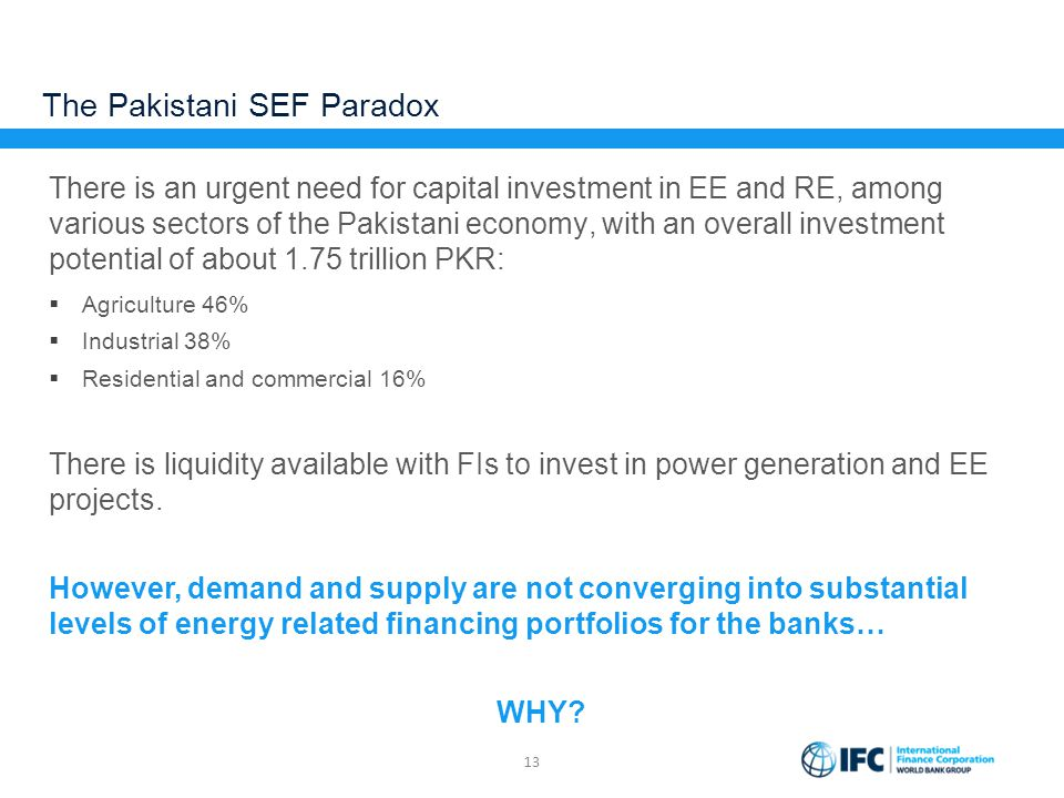 The Pakistani SEF Paradox There is an urgent need for capital investment in EE and RE, among various sectors of the Pakistani economy, with an overall
