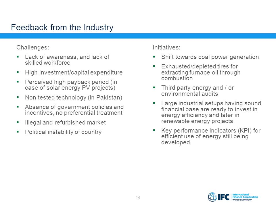 Feedback from the Industry Challenges:  Lack of awareness, and lack of skilled workforce  High investment/capital expenditure  Perceived high payba