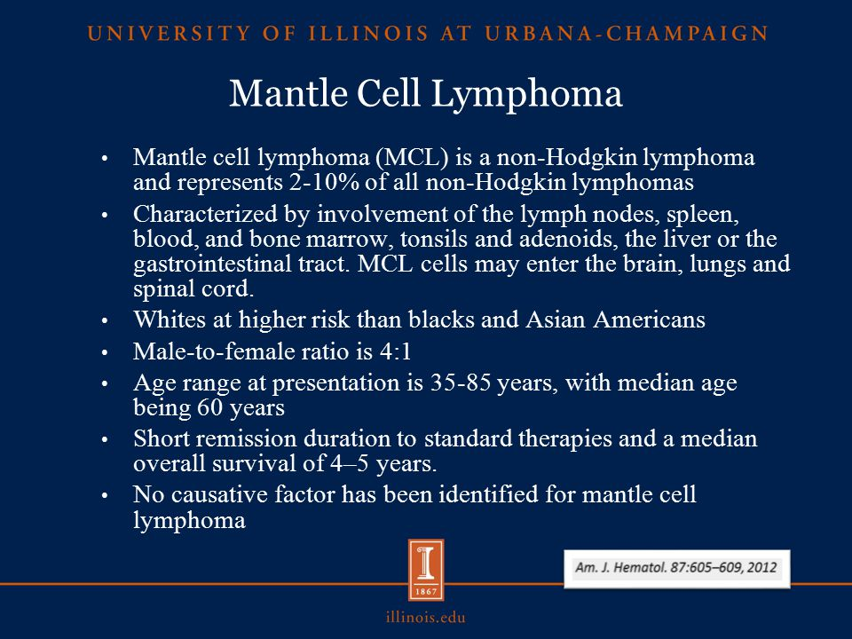 Mantle Cell Lymphoma Mantle cell lymphoma (MCL) is a non-Hodgkin lymphoma and represents 2-10% of all non-Hodgkin lymphomas Characterized by involvement of the lymph nodes, spleen, blood, and bone marrow, tonsils and adenoids, the liver or the gastrointestinal tract.