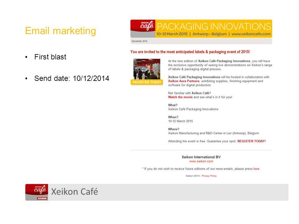Xeikon Café Email marketing First blast Send date: 10/12/2014
