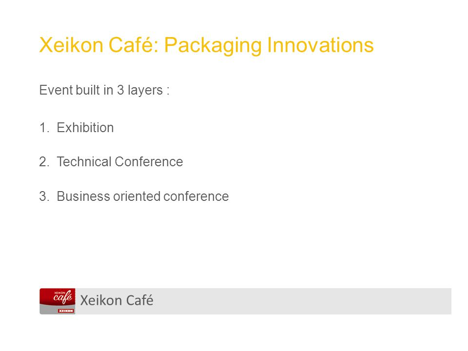Xeikon Café Xeikon Café: Packaging Innovations Event built in 3 layers : 1.Exhibition 2.Technical Conference 3.Business oriented conference