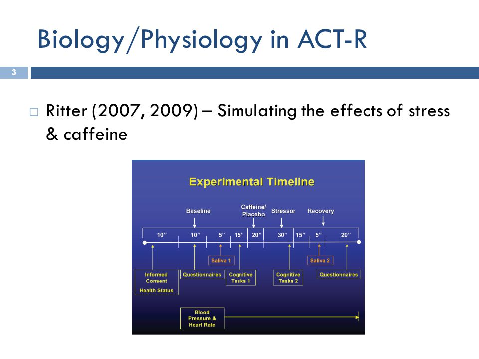 Biology/Physiology in ACT-R 3  Ritter (2007, 2009) – Simulating the effects of stress & caffeine