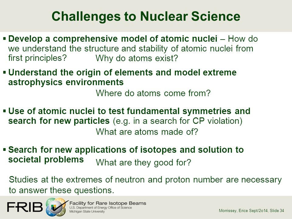  Develop a comprehensive model of atomic nuclei – How do we understand the structure and stability of atomic nuclei from first principles?  Understa