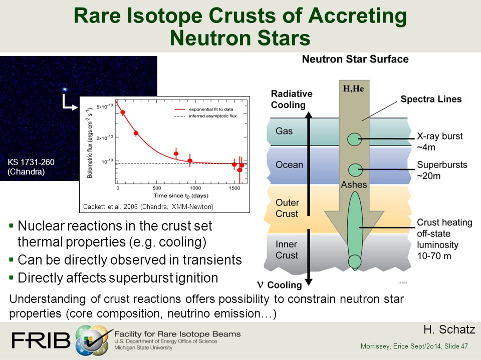 Rare Isotope Crusts of Accreting Neutron Stars  Nuclear reactions in the crust set thermal properties (e.g. cooling)  Can be directly observed in tr