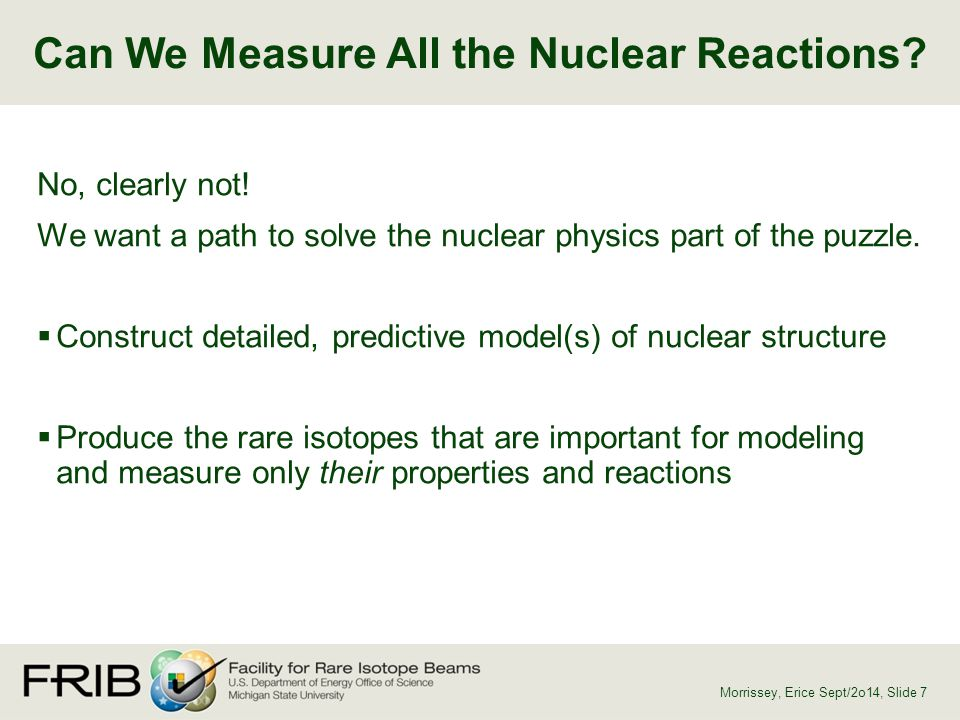 Can We Measure All the Nuclear Reactions? Morrissey, Erice Sept/2o14, Slide 7 No, clearly not! We want a path to solve the nuclear physics part of the