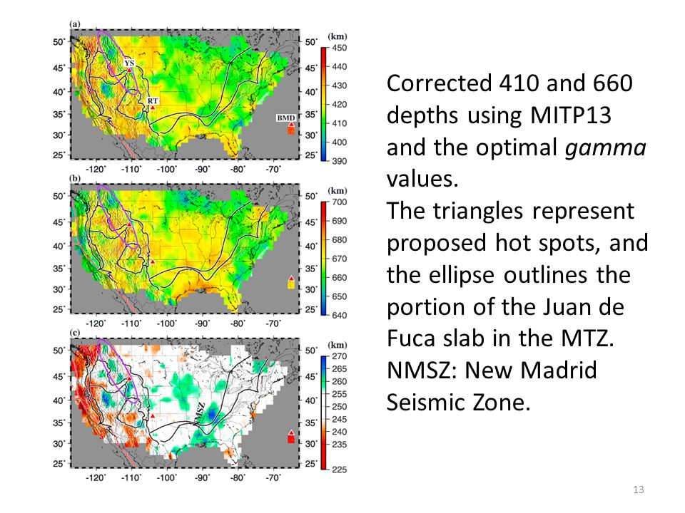 Corrected 410 and 660 depths using MITP13 and the optimal gamma values.