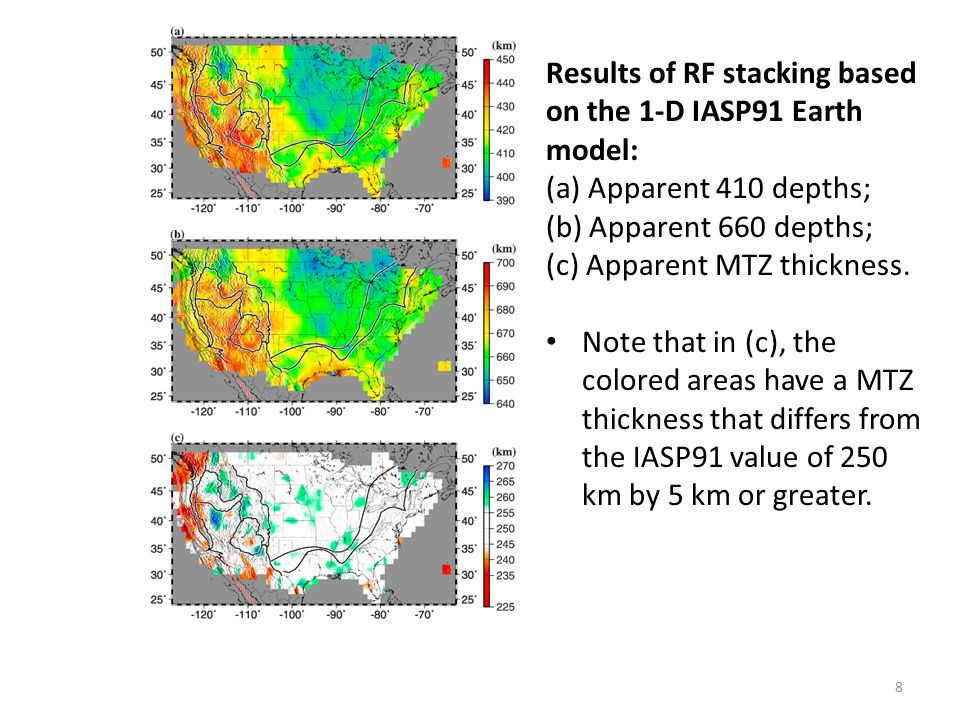 Results of RF stacking based on the 1-D IASP91 Earth model: (a) Apparent 410 depths; (b) Apparent 660 depths; (c) Apparent MTZ thickness.