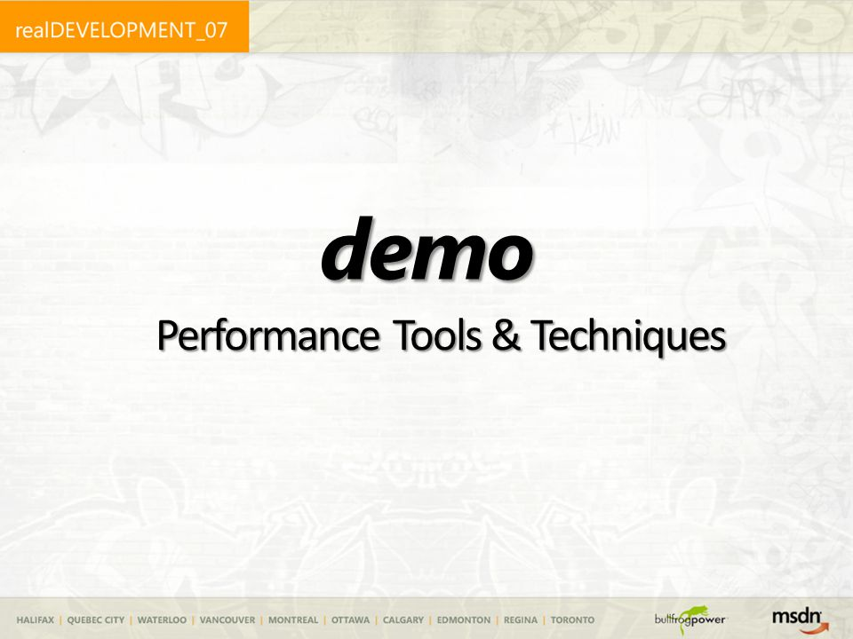 demo Performance Tools & Techniques