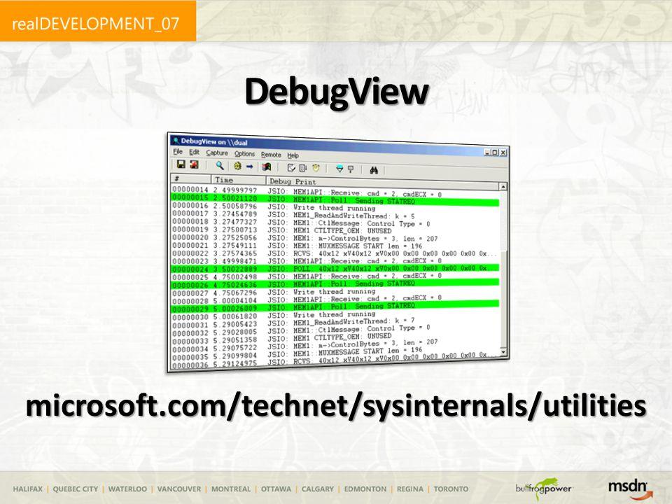 DebugView microsoft.com/technet/sysinternals/utilities
