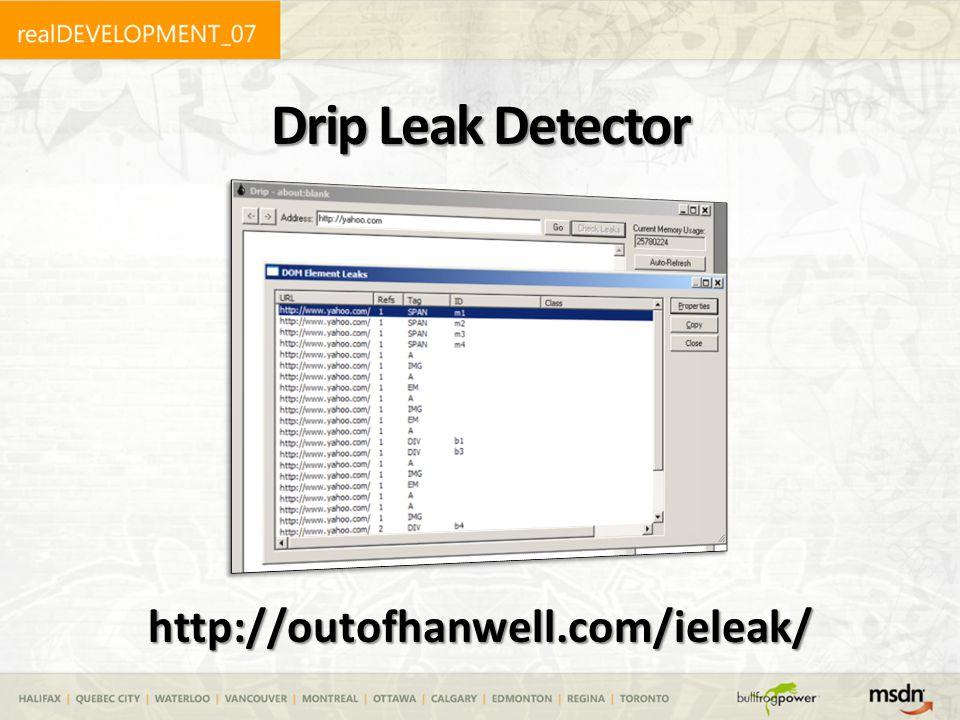 Drip Leak Detector http://outofhanwell.com/ieleak/