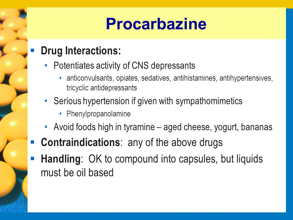 Dacarbazine  Dose: 800-1000 mg/m2 IV over 5-8 hours q2-3 weeks Pretreat with Cerenia Pretreat with dexamethasone to prevent phlebitis Pretreat with opiate to prevent pain on IV infusion  Indications: LSA Rescue, ST sarcoma, melanoma  Unique Side Effects: Serious extravasation injury, like Actinomycin D Hepatoxicity and nephrotoxicity - use with caution with hepatic or renal disease Photosensitivity Dilute to prevent pain on IV infusion (D5W or saline)