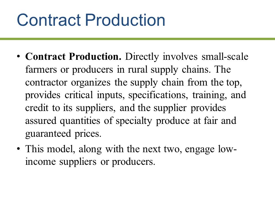 Contract Production Contract Production.