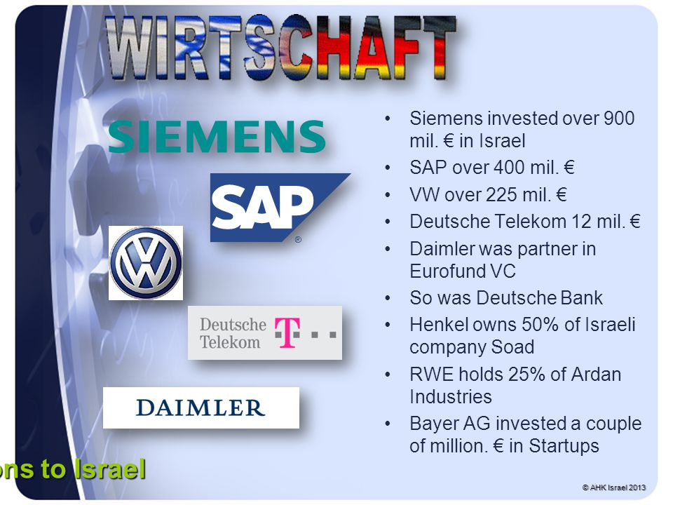 Siemens invested over 900 mil. € in Israel SAP over 400 mil.