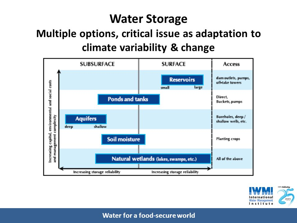 Water for a food-secure world Water Storage Multiple options, critical issue as adaptation to climate variability & change