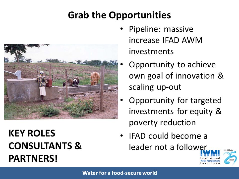 Water for a food-secure world Grab the Opportunities Pipeline: massive increase IFAD AWM investments Opportunity to achieve own goal of innovation & s