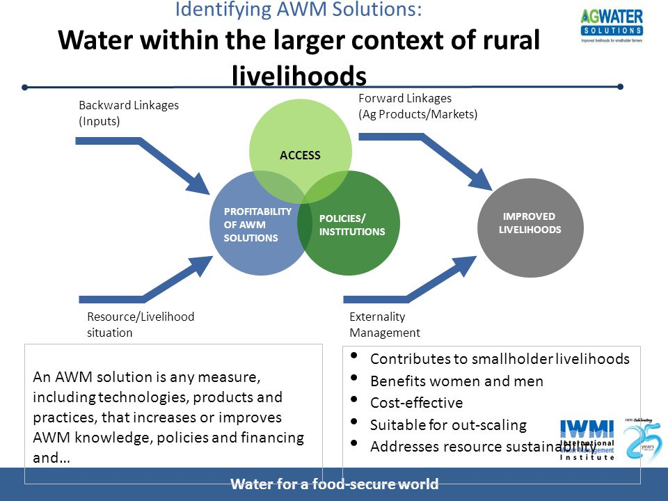 Water for a food-secure world Identifying AWM Solutions: Water within the larger context of rural livelihoods IMPROVED LIVELIHOODS Backward Linkages (