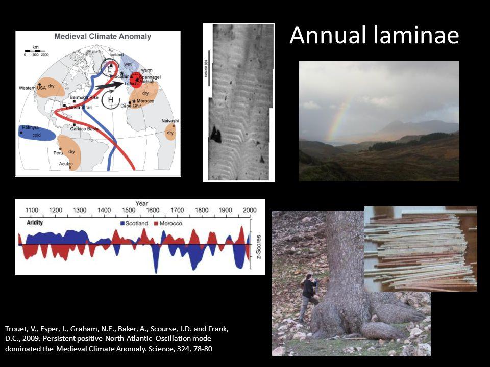 Annual laminae Trouet, V., Esper, J., Graham, N.E., Baker, A., Scourse, J.D.