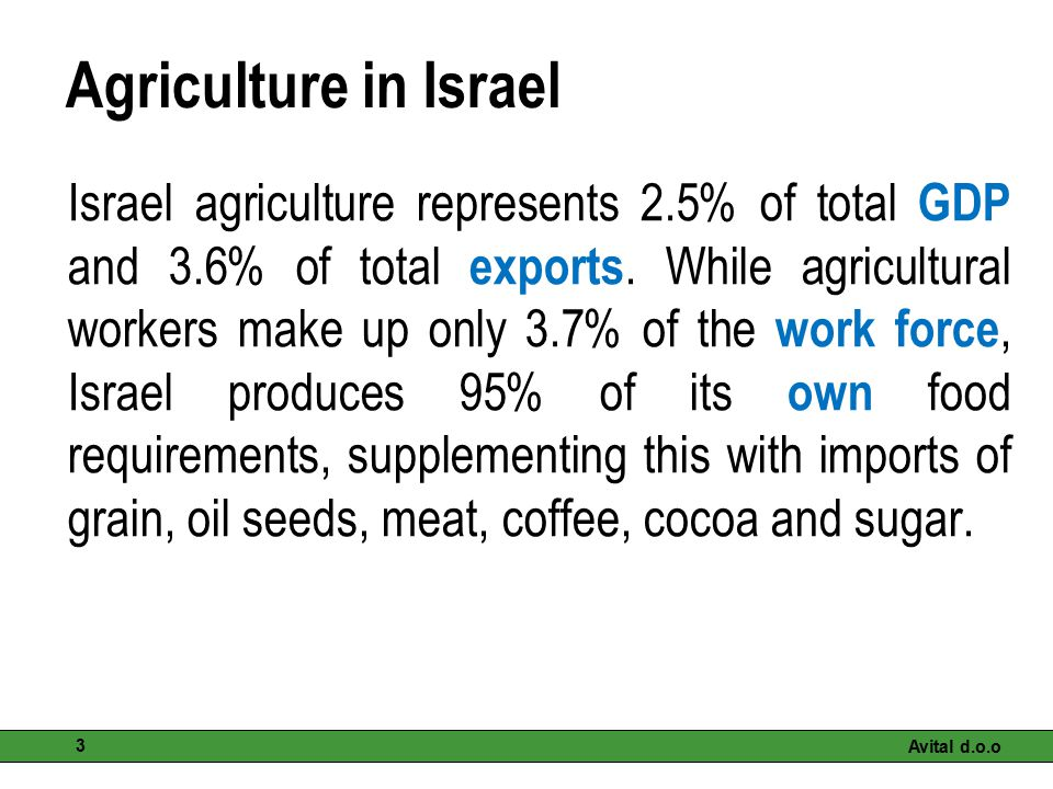 Agriculture in Israel Israel agriculture represents 2.5% of total GDP and 3.6% of total exports. While agricultural workers make up only 3.7% of the w