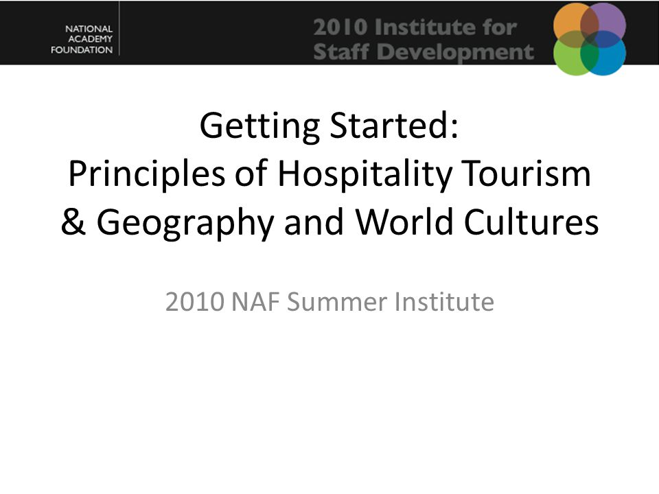 Getting Started: Principles of Hospitality Tourism & Geography and World Cultures 2010 NAF Summer Institute