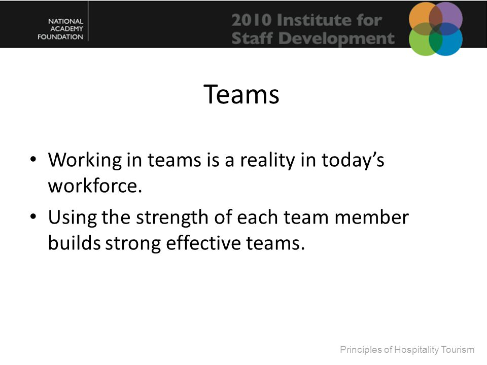 Teams Working in teams is a reality in today's workforce.