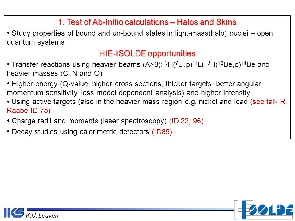 K.U. Leuven 1. Test of Ab-Initio calculations – Halos and Skins Study properties of bound and un-bound states in light-mass(halo) nuclei – open quantu