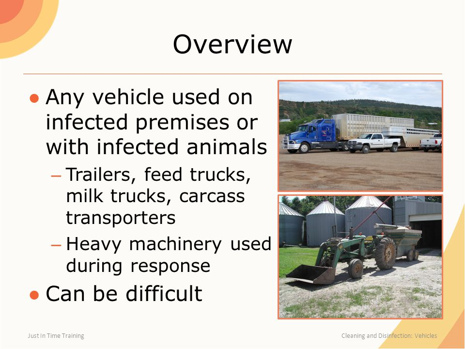 Overview ●Any vehicle used on infected premises or with infected animals – Trailers, feed trucks, milk trucks, carcass transporters – Heavy machinery used during response ●Can be difficult Just In Time Training Cleaning and Disinfection: Vehicles