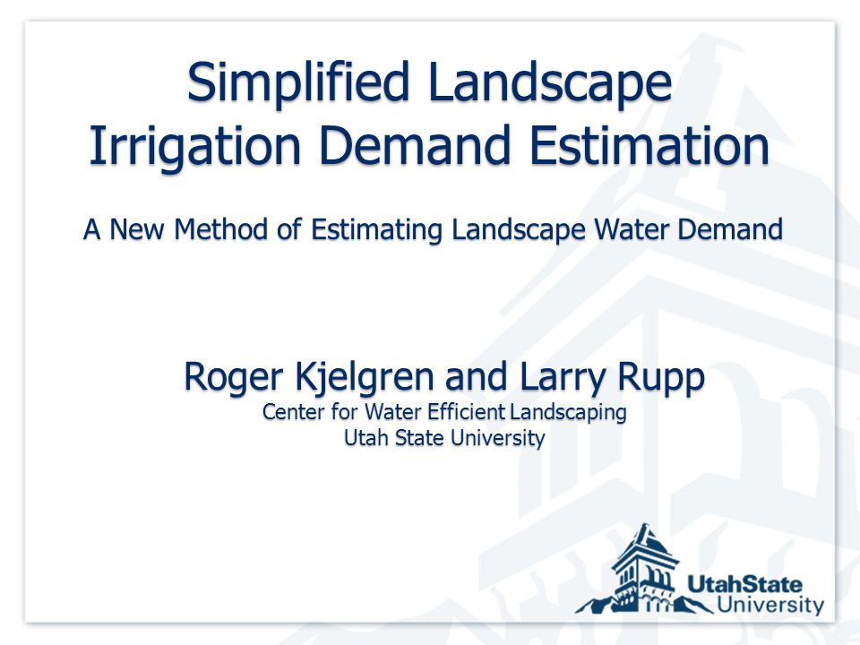 Summary SLIDE RulesSummary SLIDE Rules Non turf urban landscapes are complex; simplify water demand Knowing volume of transpiration (from leaf area) more important than rate of water use Assume 0.5 Kp as rate of water use (% ETo) for all plants unless evidence otherwise Irrigation amount: same each irrigation Drip irrigation, 2 water ≈ gallons needed crown diameter 2 Irrigation frequency ≈ ETo x 0.5 ÷ inches per irrigation